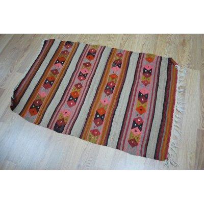 画像1: 50%off ちょっとだけわけありオールドキリム ウールの極細糸で織られた可愛い織物 120x83cm