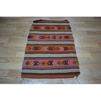 画像2: 50%off ちょっとだけわけありオールドキリム ウールの極細糸で織られた可愛い織物 120x83cm