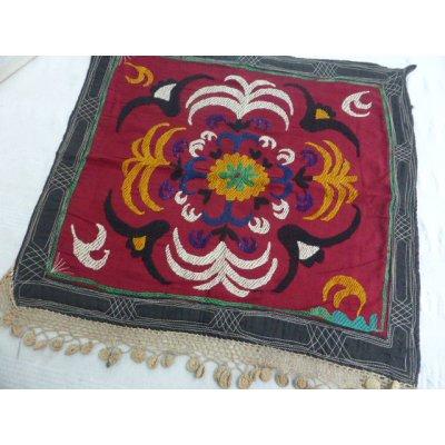 画像1: ヴィンテージ ウズベキスタンのスザーニ シルク手刺繍 51×46cm