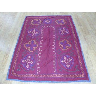 画像1: 40%off ヴィンテージ ウズベキスタンの大きなスザーニ コットン布にコットン糸の手刺繍 180×140cm