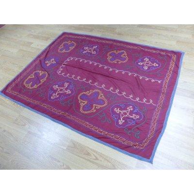 画像2: 40%off ヴィンテージ ウズベキスタンの大きなスザーニ コットン布にコットン糸の手刺繍 180×140cm