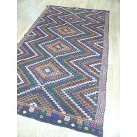 オールドキリム 遊牧民系住人のヤギ毛の織物 特大サイズ 4.8㎡ 287×170cm
