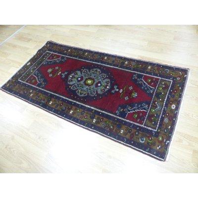 画像2: オールド絨毯 アナトリアのオーソドックスでいて愛らしいデザインと色遣い 188×97cm