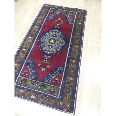 画像1: オールド絨毯 アナトリアのオーソドックスでいて愛らしいデザインと色遣い 188×97cm