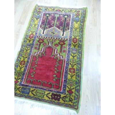画像1: オールド絨毯 ミフラップを描いたお祈り用 130×77cm