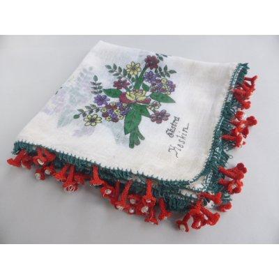 画像2: マニサのトゥーオヤスカーフ シェケル(砂糖)オヤと呼ばれるかぎ針で作る立体オヤ 花丁子のモチーフ