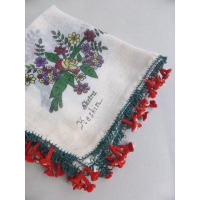 画像1: マニサのトゥーオヤスカーフ シェケル(砂糖)オヤと呼ばれるかぎ針で作る立体オヤ 花丁子のモチーフ
