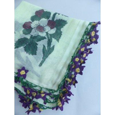 画像1: マニサのトゥーオヤスカーフ シェケル(砂糖)オヤと呼ばれるかぎ針で作る立体オヤ スミレのモチーフ