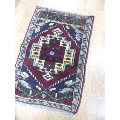 画像1: オールド絨毯 ニーデ グレーはナチュラルウール 100×67cm