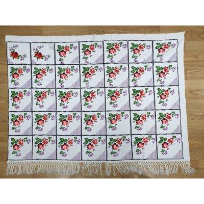 画像1: エタミン刺繍のヴィンテージクロス 176×130cm