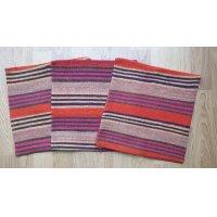 手織り布のクッションカバー3点セット コットン×ウール